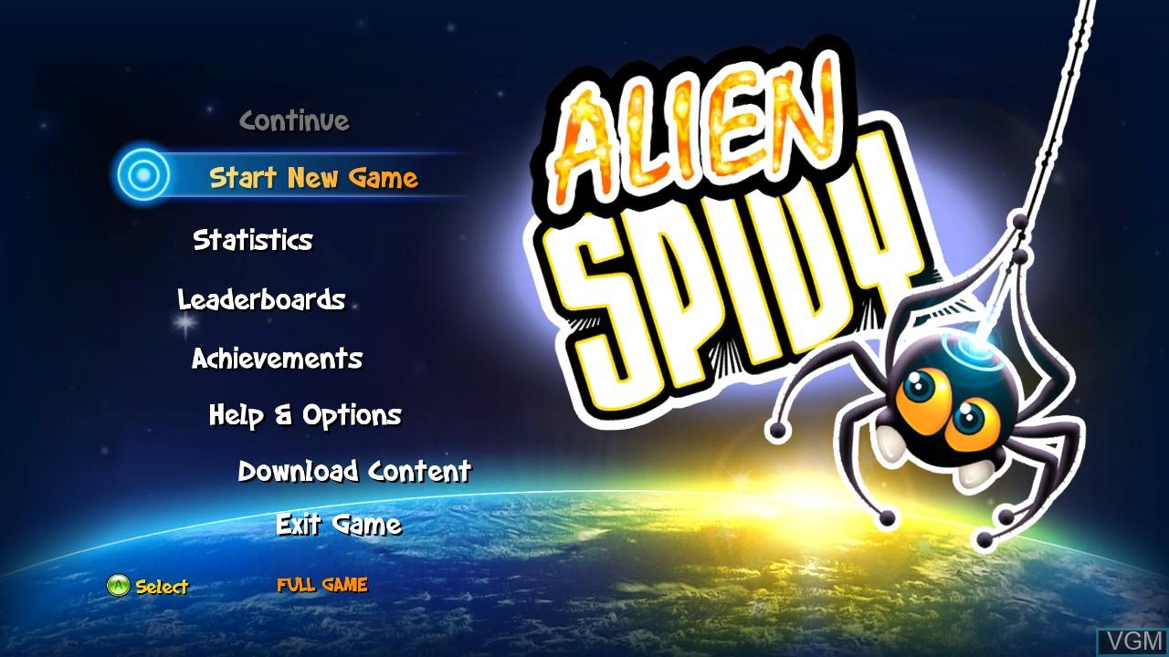 Image du menu du jeu Alien Spidy sur Microsoft Xbox 360