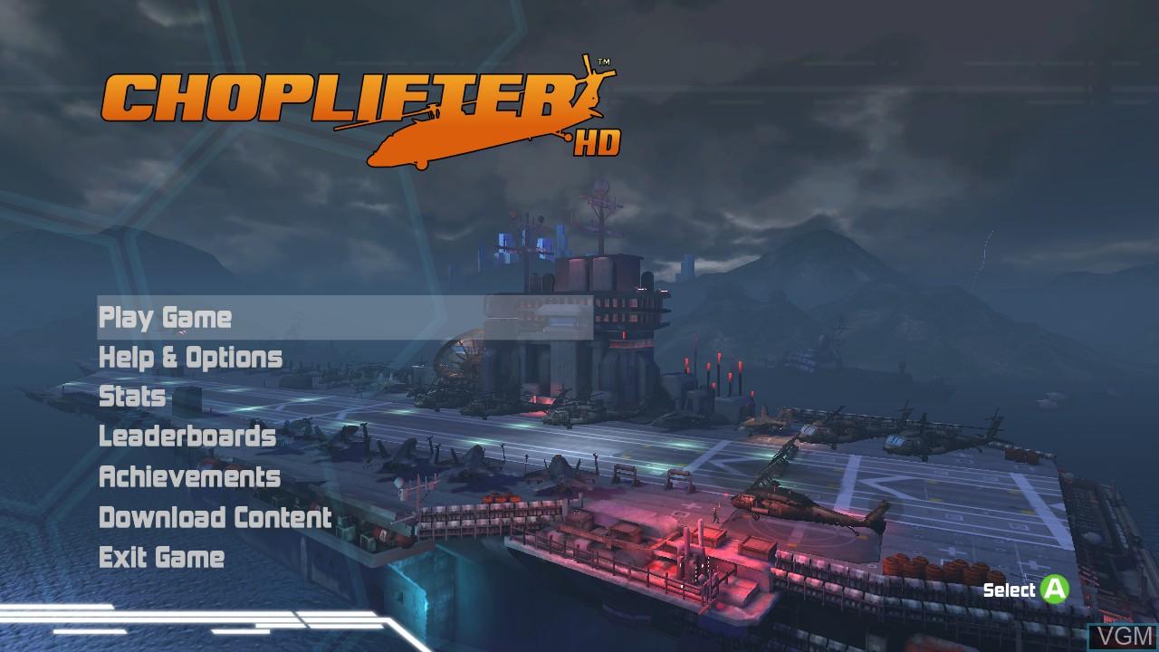 Image du menu du jeu Choplifter HD sur Microsoft Xbox 360