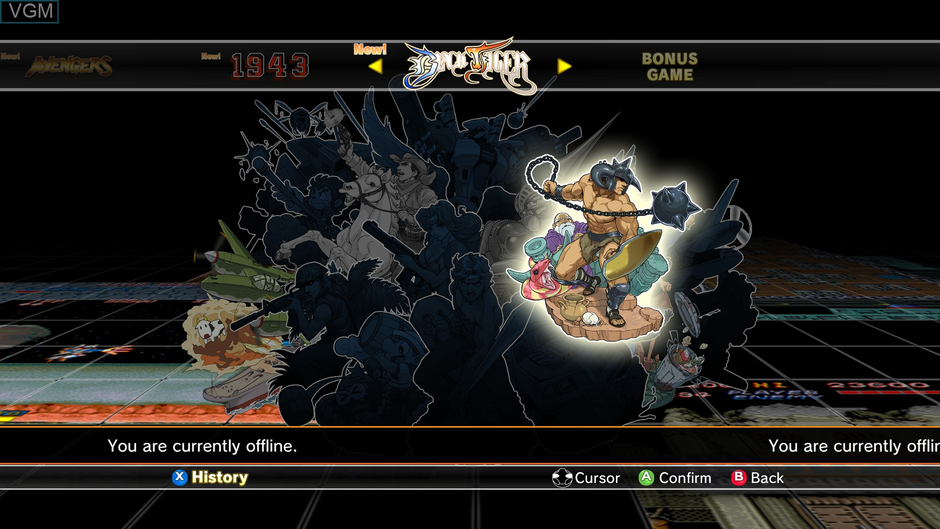 Image du menu du jeu Capcom Arcade Cabinet sur Microsoft Xbox 360