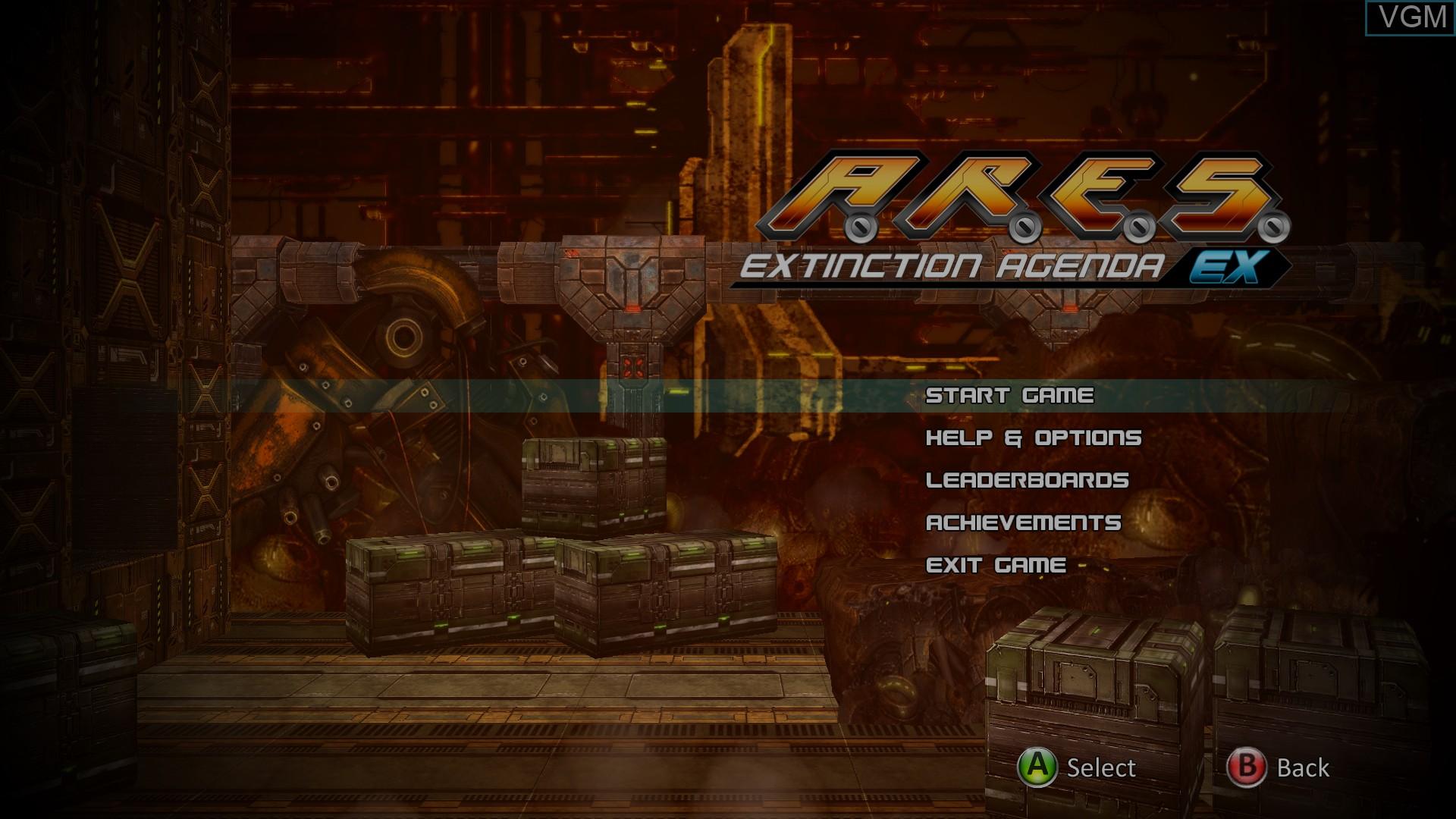 Image du menu du jeu A.R.E.S. Extinction Agenda EX sur Microsoft Xbox 360