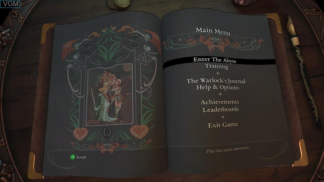Image du menu du jeu Abyss Odyssey sur Microsoft Xbox 360