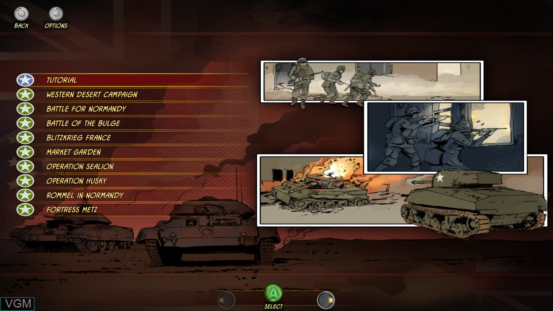 Image du menu du jeu Battle Academy sur Microsoft Xbox 360