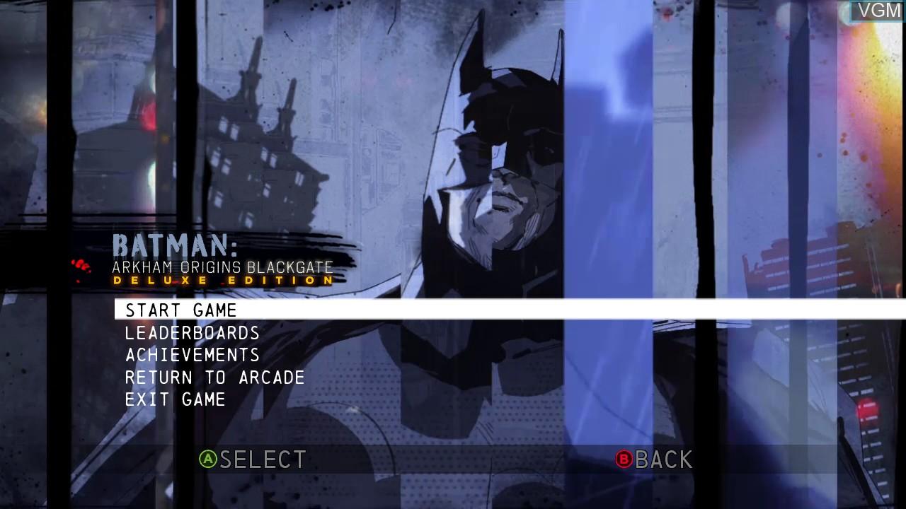 Image du menu du jeu Batman - Arkham Origins Blackgate - Deluxe Edition sur Microsoft Xbox 360