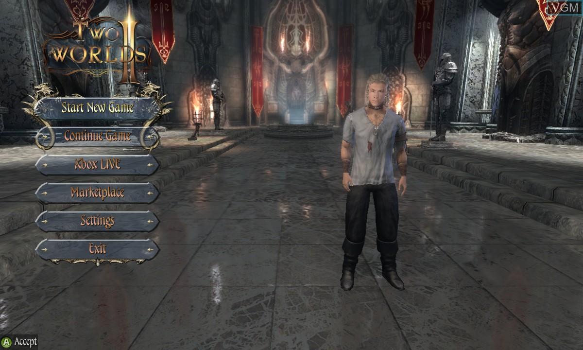 Image du menu du jeu Two Worlds II sur Microsoft Xbox 360