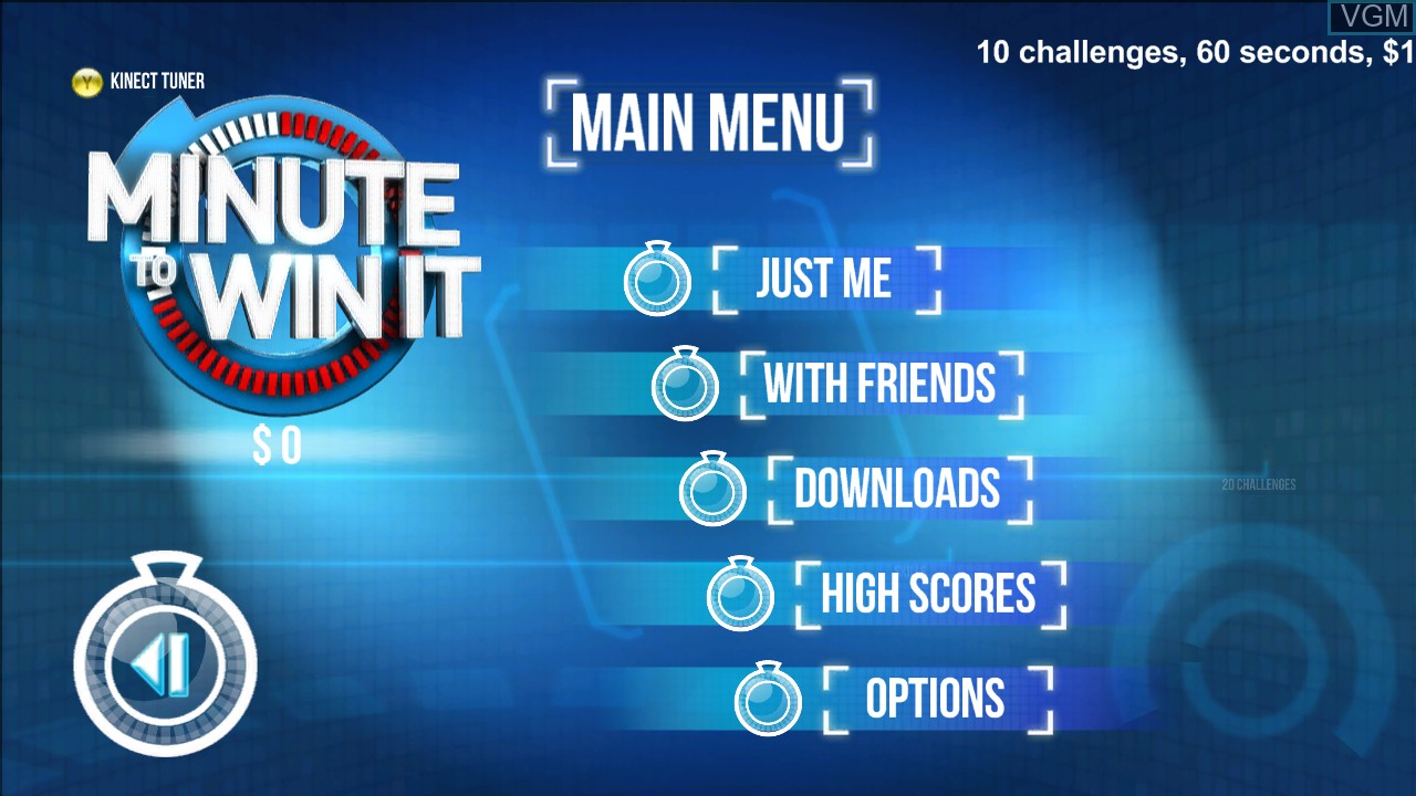 Image du menu du jeu Minute to Win It sur Microsoft Xbox 360