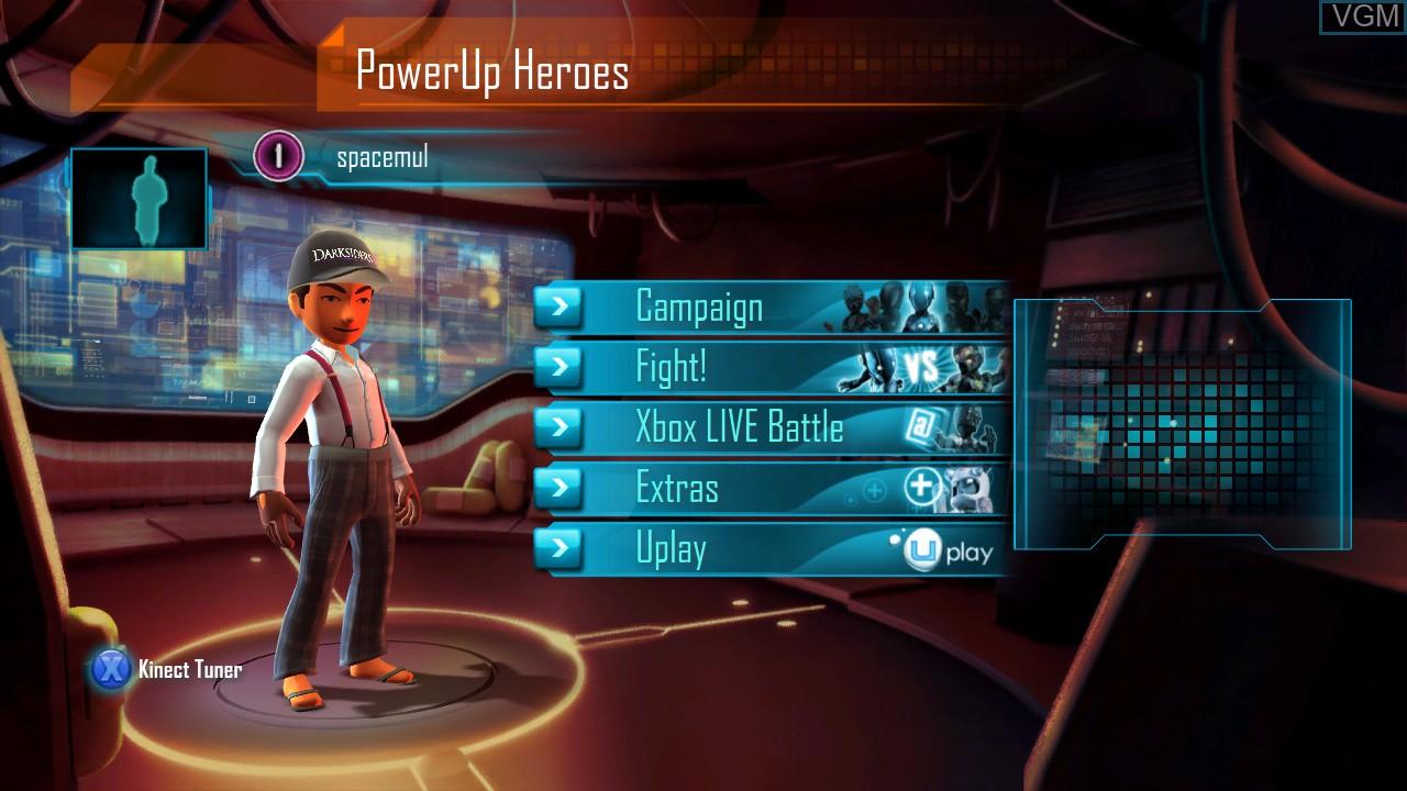 Image du menu du jeu PowerUp Heroes sur Microsoft Xbox 360