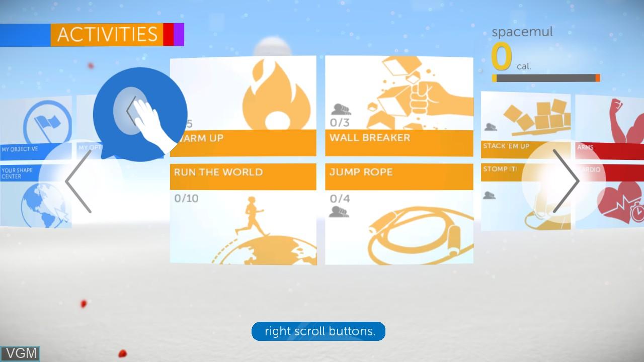 Image du menu du jeu Your Shape Fitness Evolved 2012 sur Microsoft Xbox 360