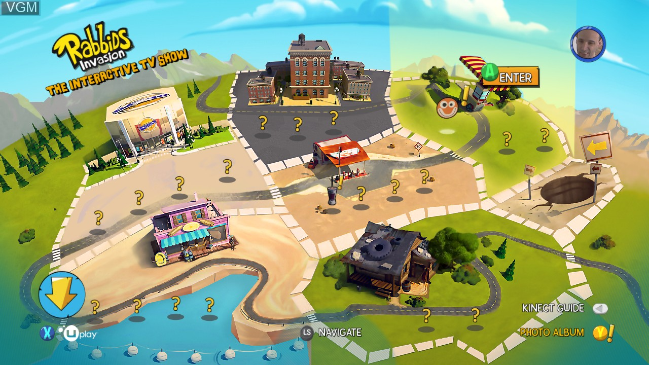 Image du menu du jeu Rabbids Invasion sur Microsoft Xbox 360
