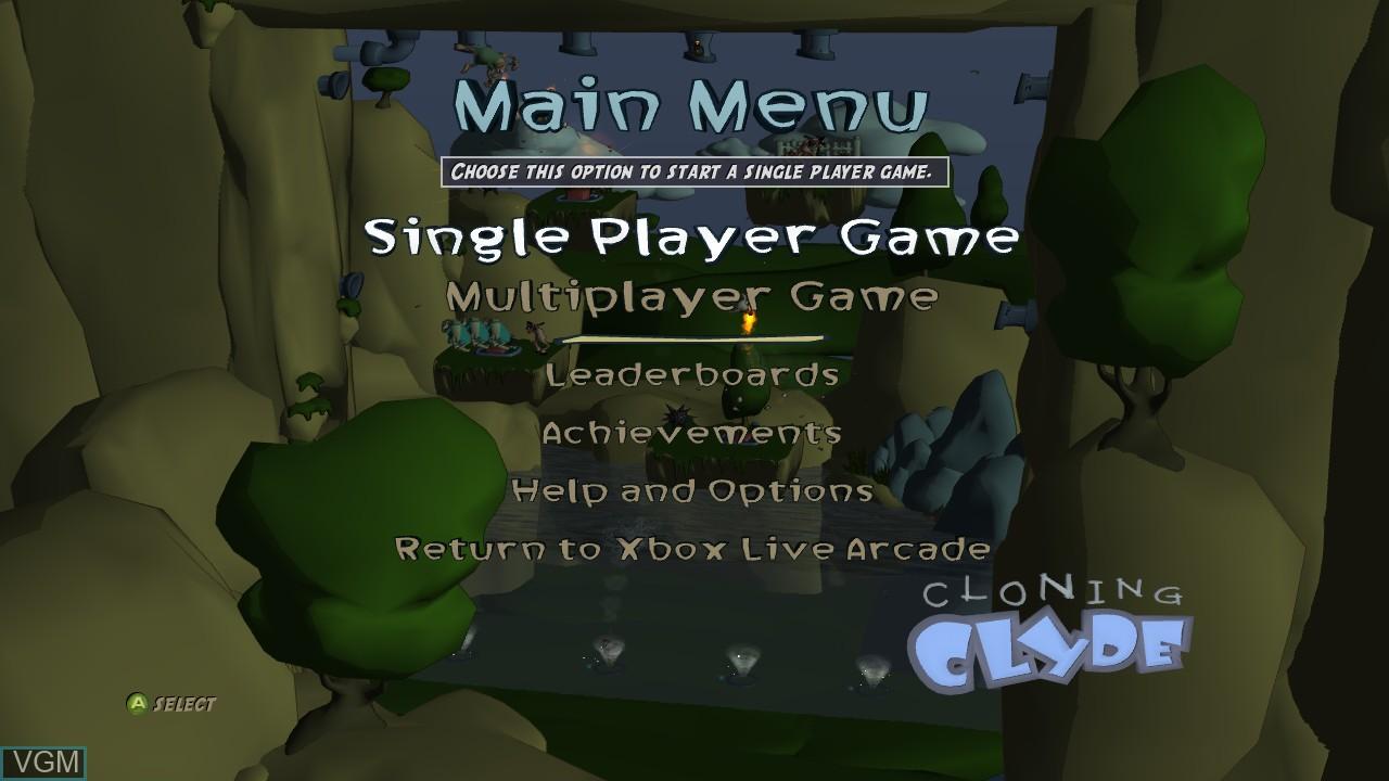 Image du menu du jeu Cloning Clyde sur Microsoft Xbox 360