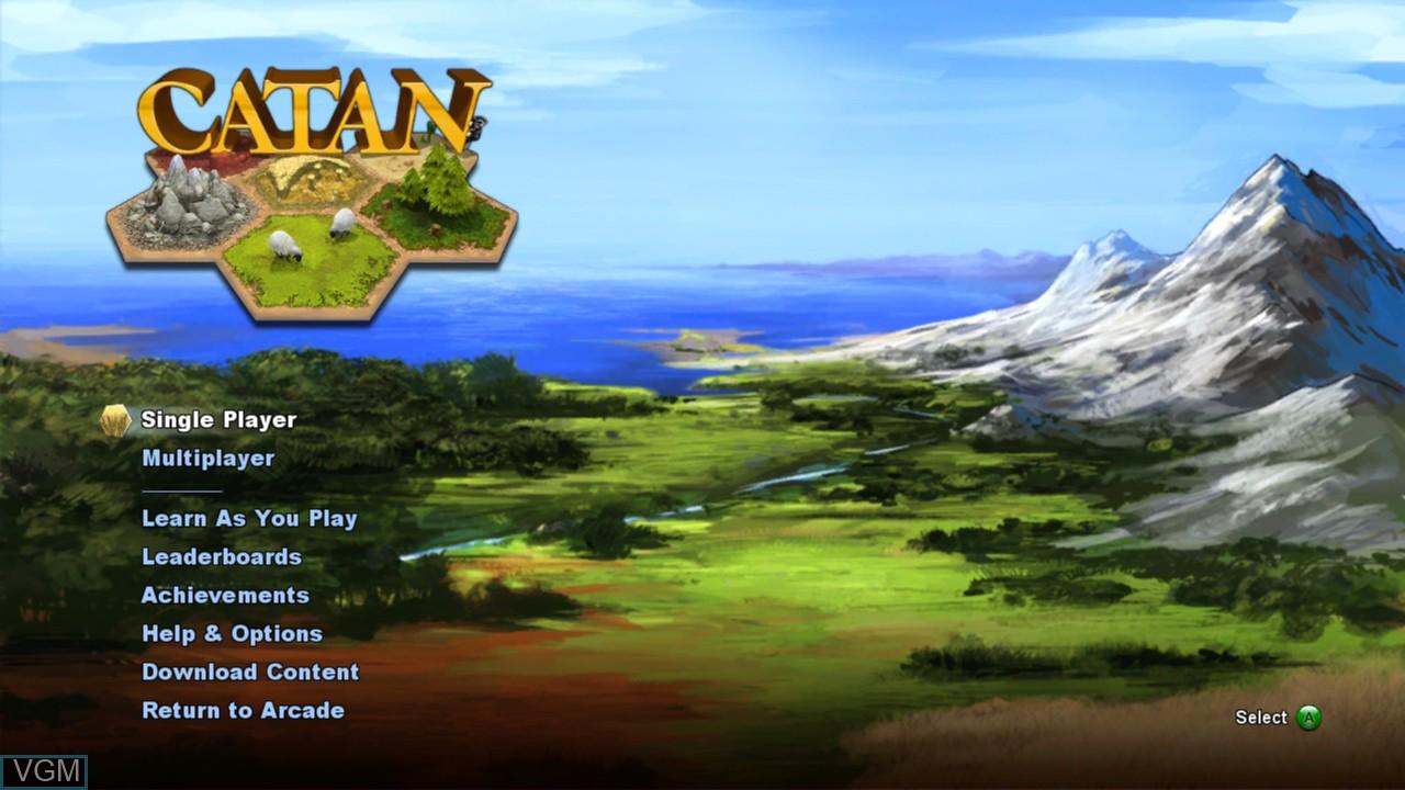 Image du menu du jeu Catan sur Microsoft Xbox 360