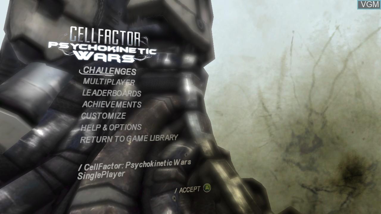 Image du menu du jeu CellFactor - Psychokinetic Wars sur Microsoft Xbox 360