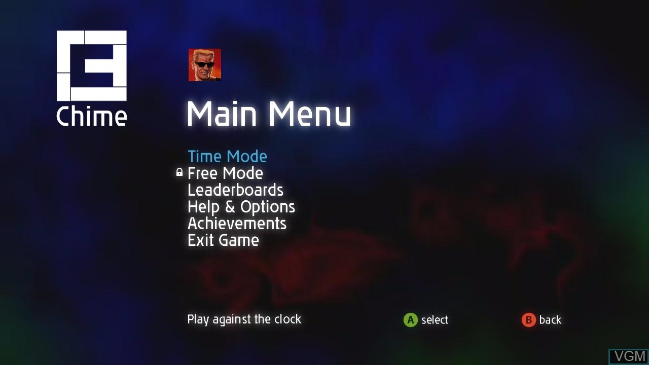 Image du menu du jeu Chime sur Microsoft Xbox 360
