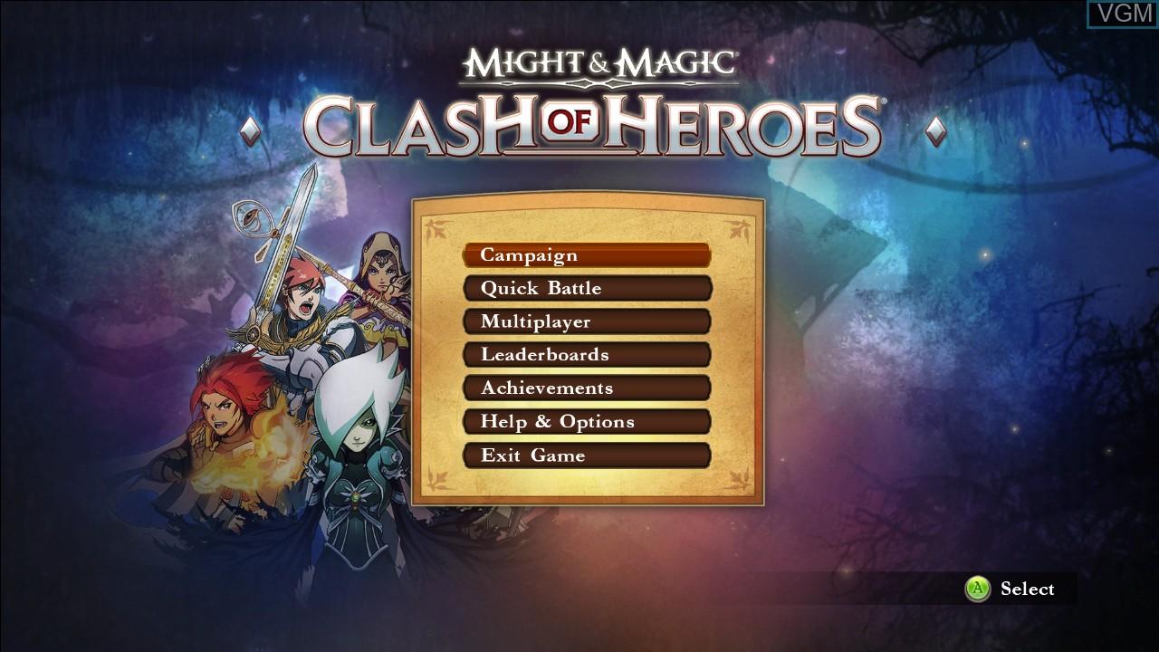 Image du menu du jeu Might & Magic - Clash of Heroes sur Microsoft Xbox 360