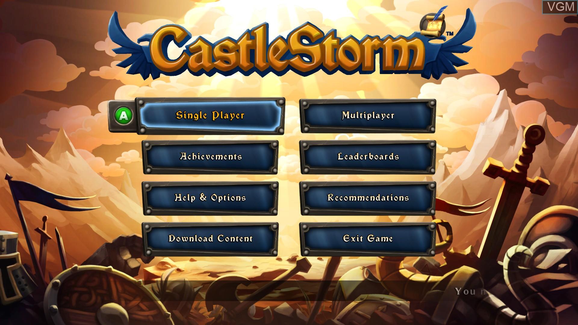 Image du menu du jeu CastleStorm sur Microsoft Xbox 360