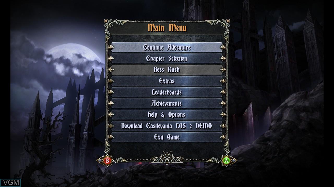 Image du menu du jeu Castlevania - Lords of Shadow - Mirror of Fate HD sur Microsoft Xbox 360
