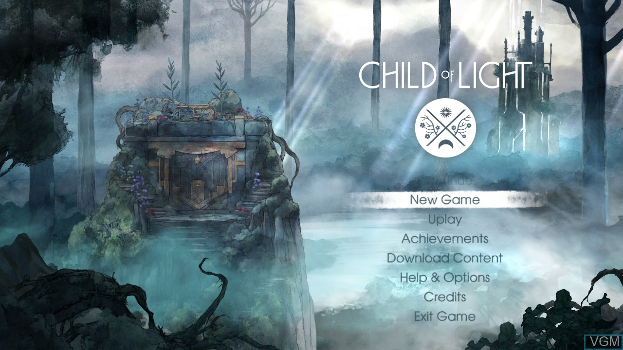 Image du menu du jeu Child of Light sur Microsoft Xbox 360