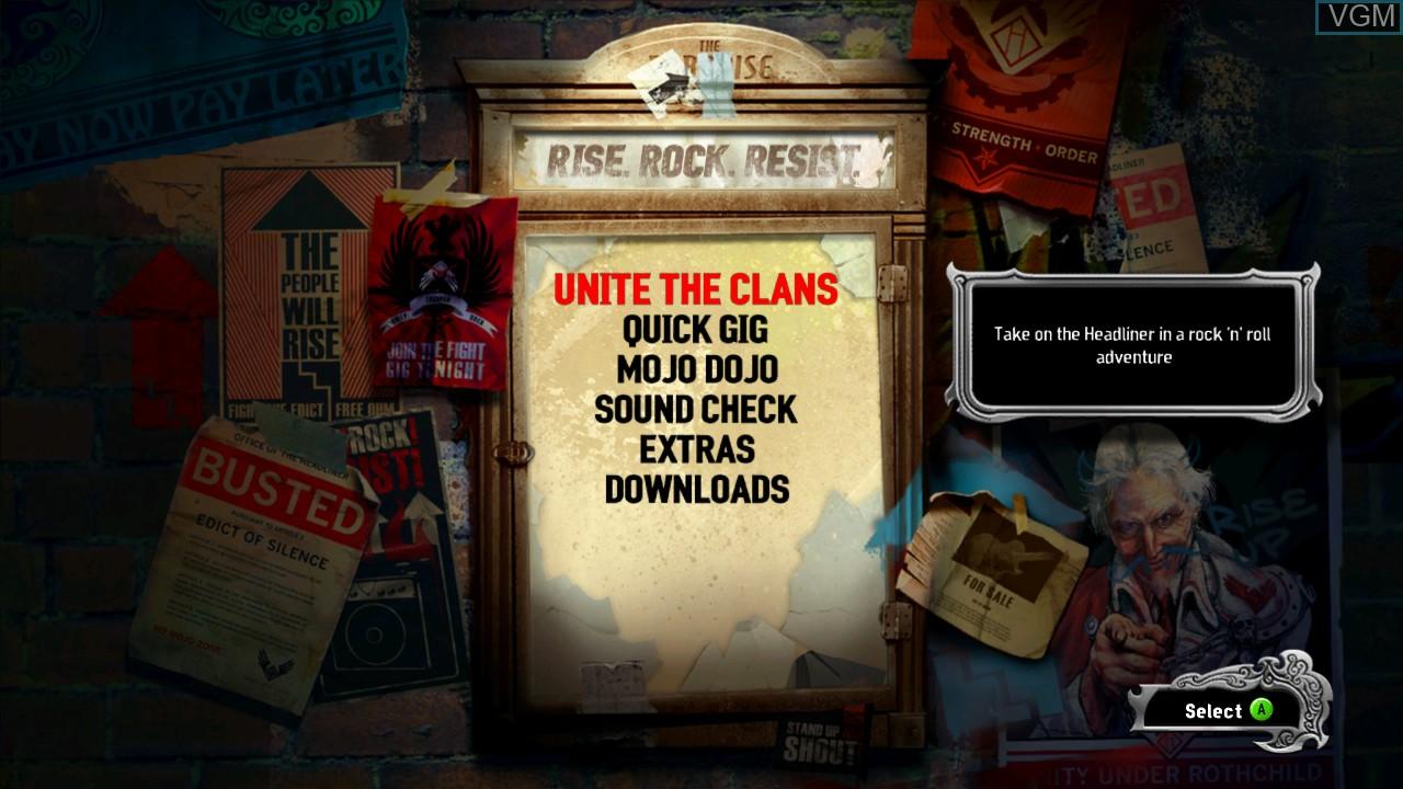 Image du menu du jeu Power Gig - Rise of the SixString sur Microsoft Xbox 360