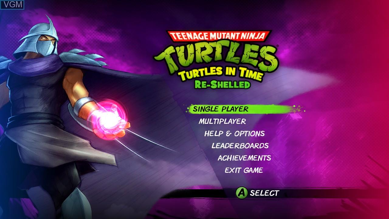 Image du menu du jeu Teenage Mutant Ninja Turtles - Turtles in Time Re-Shelled sur Microsoft Xbox 360