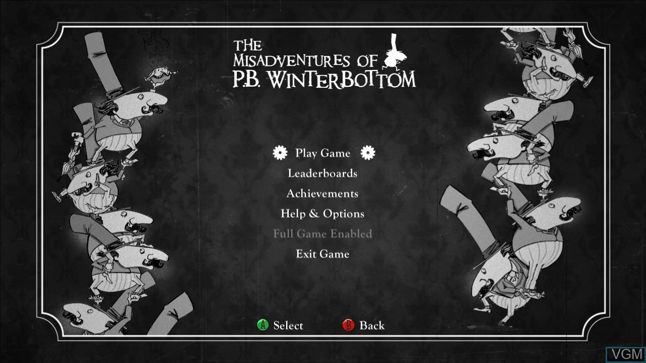 Image du menu du jeu Misadventures of P.B. Winterbottom, The sur Microsoft Xbox 360