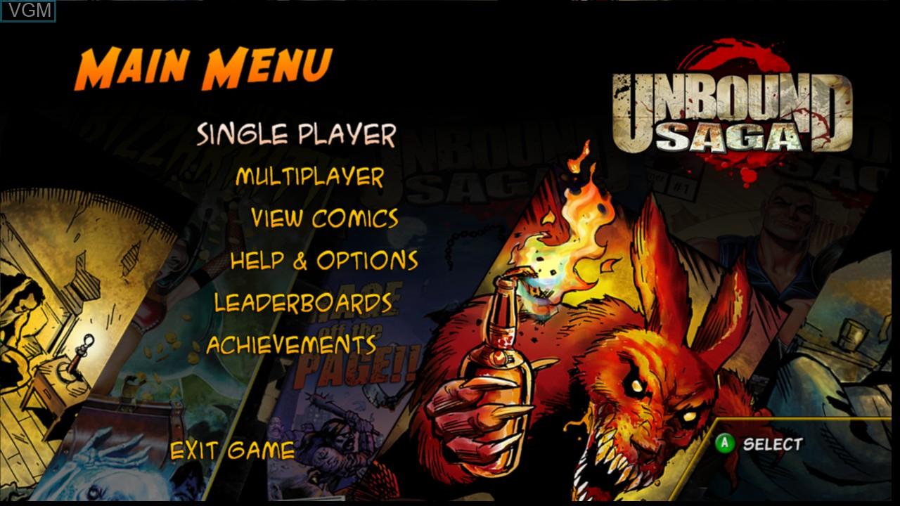 Image du menu du jeu Unbound Saga sur Microsoft Xbox 360