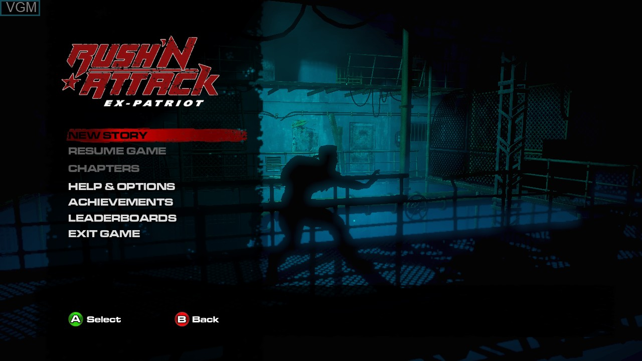Image du menu du jeu Rush'N Attack Ex-Patriot sur Microsoft Xbox 360