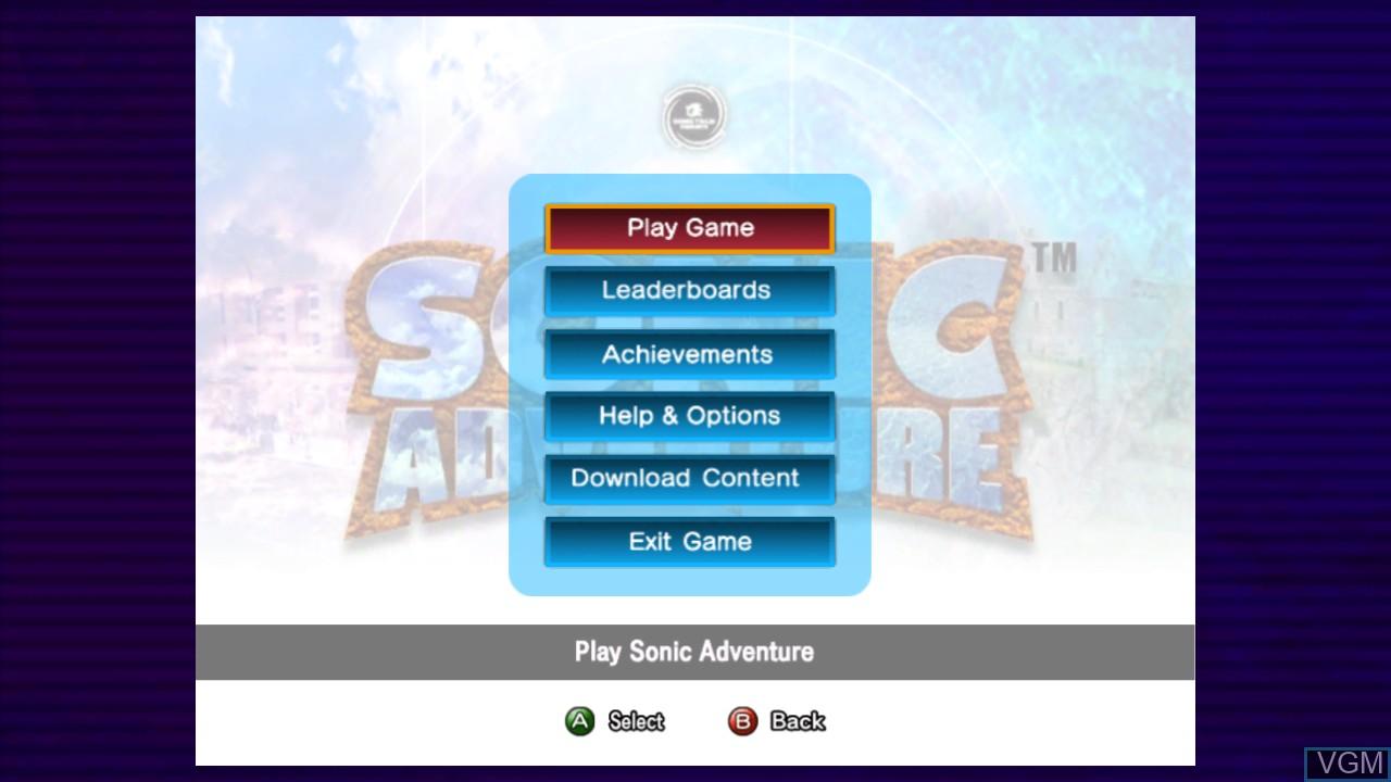 Image du menu du jeu Sonic Adventure sur Microsoft Xbox 360