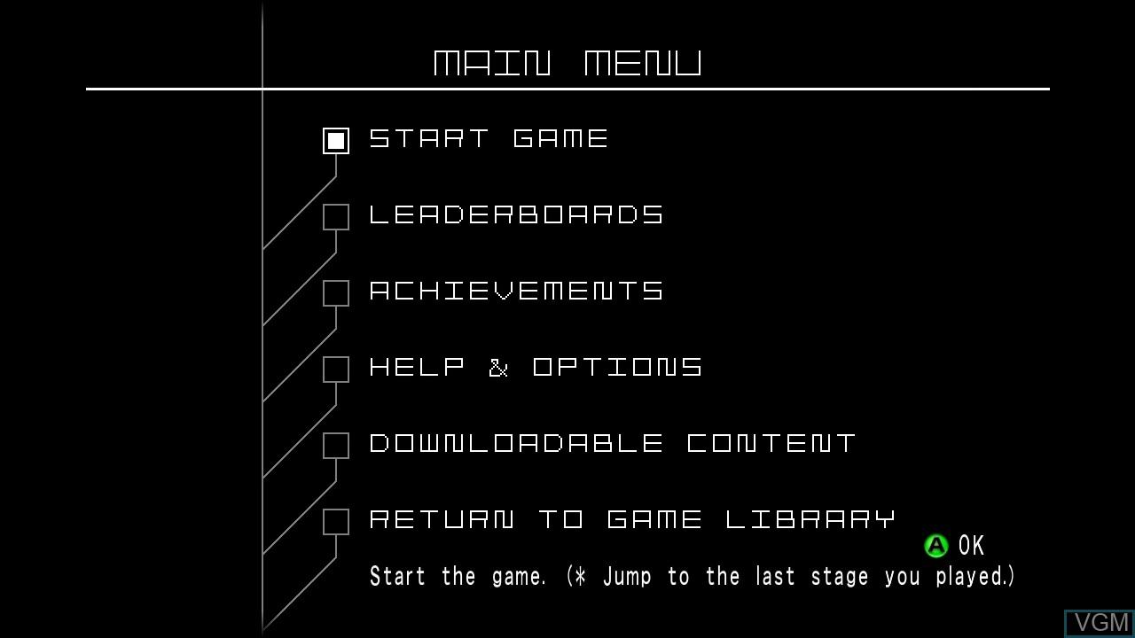 Image du menu du jeu Space Invaders Infinity Gene sur Microsoft Xbox 360
