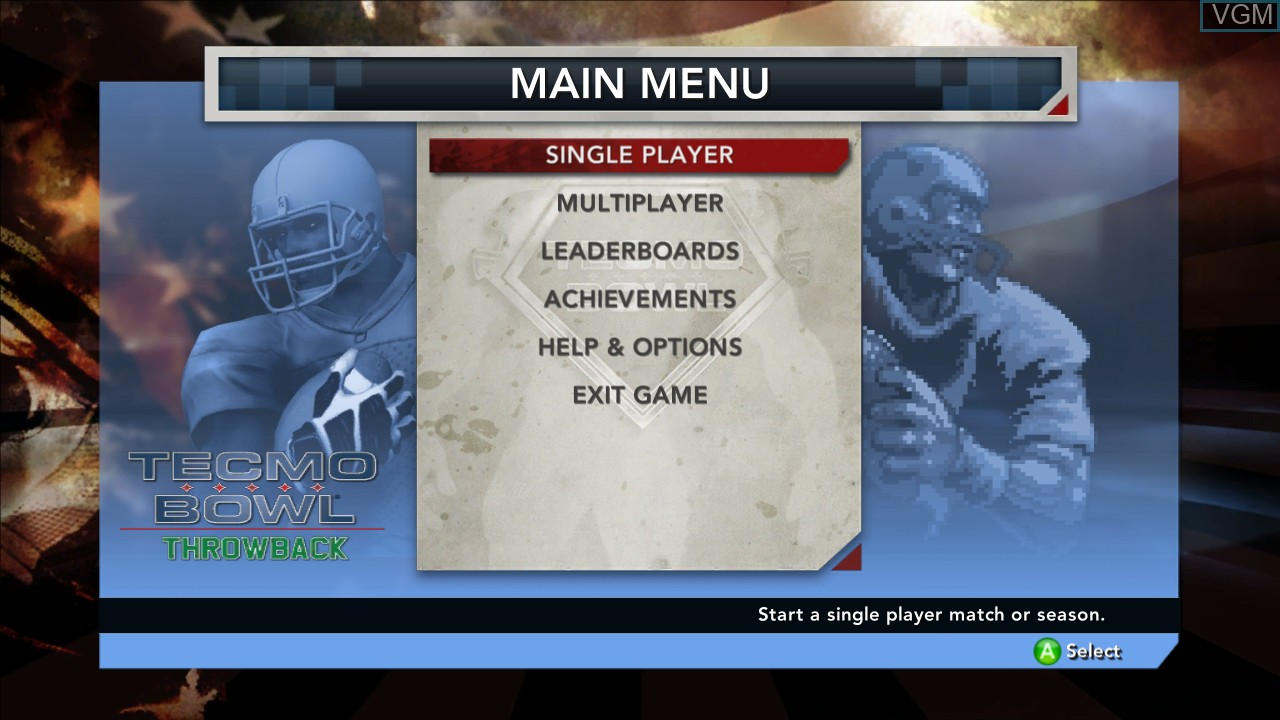 Image du menu du jeu Tecmo Bowl Throwback sur Microsoft Xbox 360