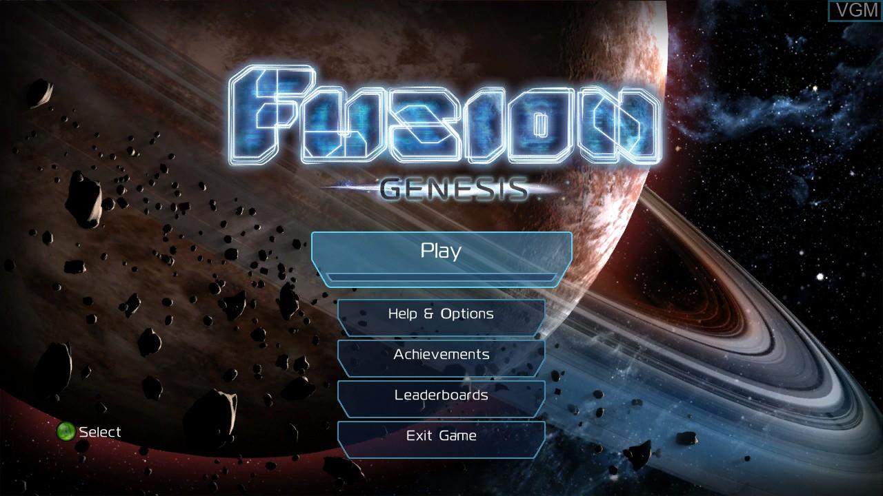 Image du menu du jeu Fusion - Genesis sur Microsoft Xbox 360