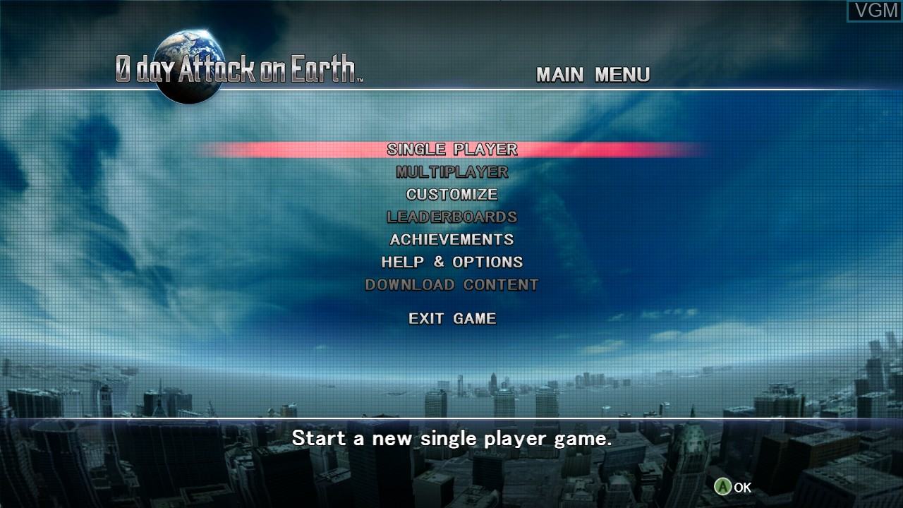 Image du menu du jeu 0 Day Attack on Earth sur Microsoft Xbox 360