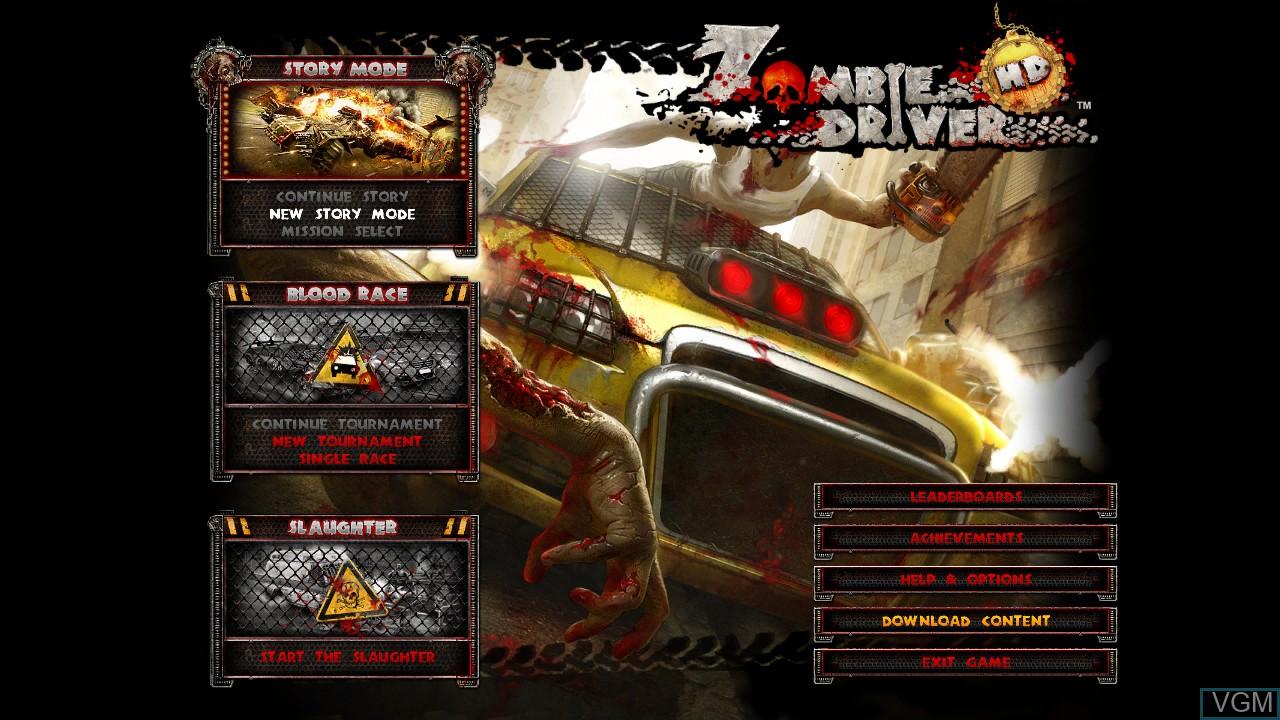 Image du menu du jeu Zombie Driver HD sur Microsoft Xbox 360