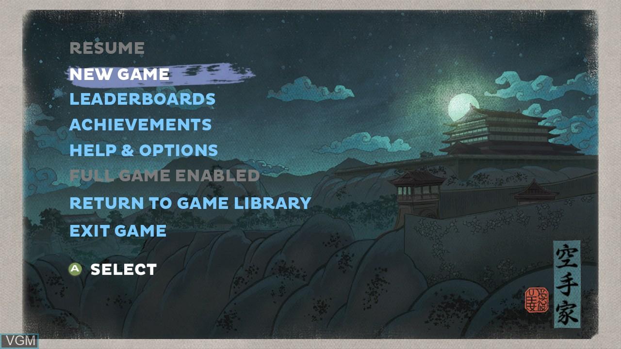 Image du menu du jeu Karateka sur Microsoft Xbox 360