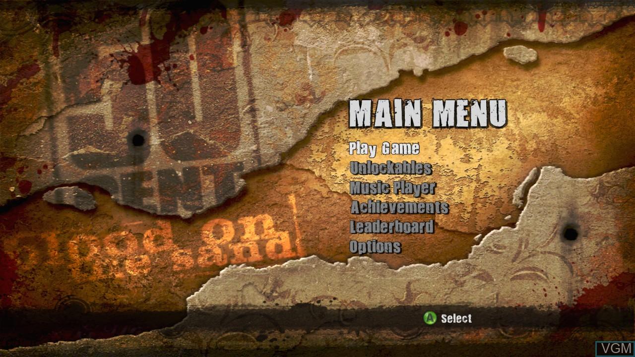 Image du menu du jeu 50 Cent - Blood on the Sand sur Microsoft Xbox 360