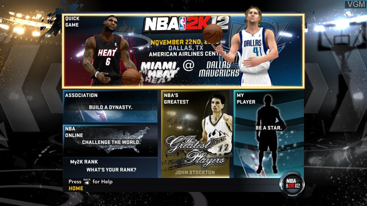 Image du menu du jeu NBA 2K12 sur Microsoft Xbox 360