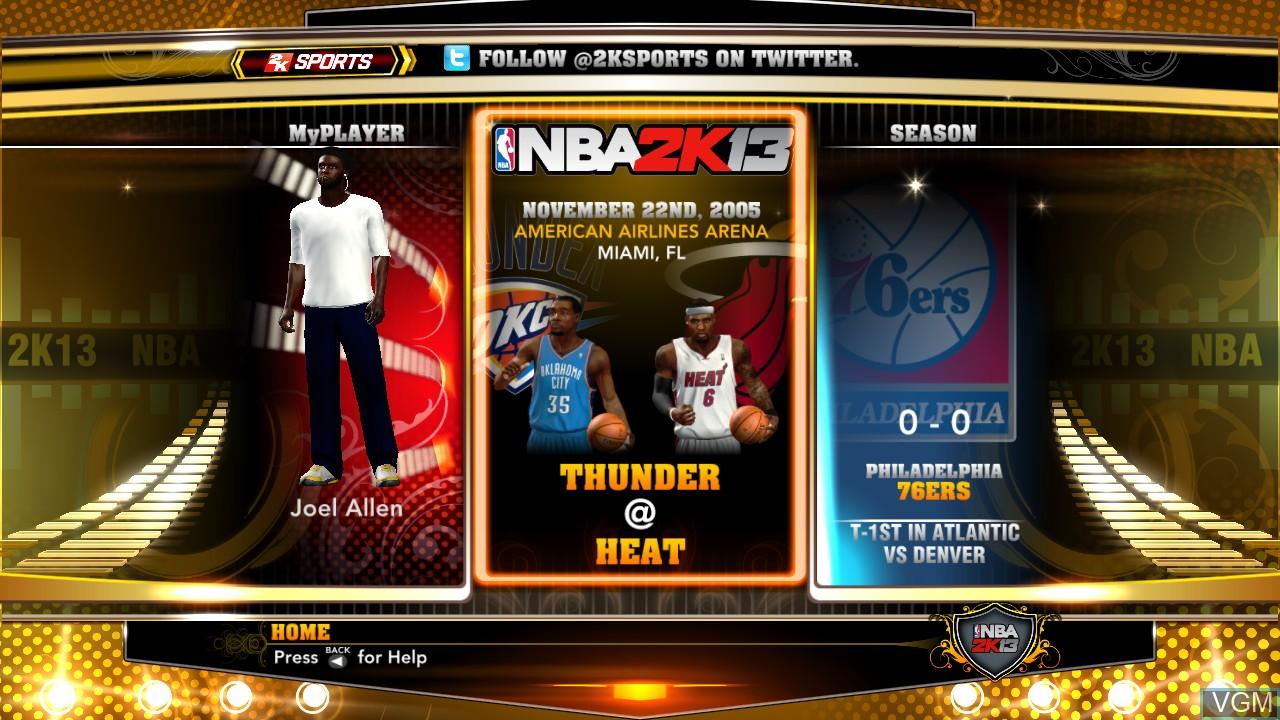 Image du menu du jeu NBA 2K13 sur Microsoft Xbox 360