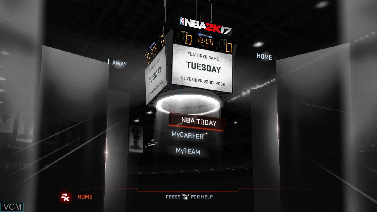 Image du menu du jeu NBA 2K17 sur Microsoft Xbox 360