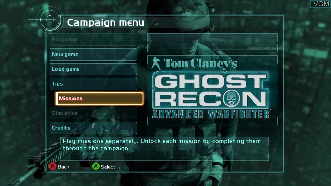 Image du menu du jeu Tom Clancy's Ghost Recon Advanced Warfighter sur Microsoft Xbox 360