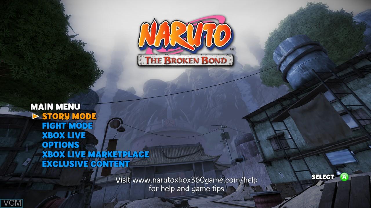 Image du menu du jeu Naruto - The Broken Bond sur Microsoft Xbox 360
