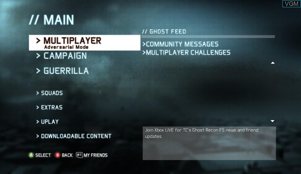 Image du menu du jeu Tom Clancy's Ghost Recon - Future Soldier sur Microsoft Xbox 360