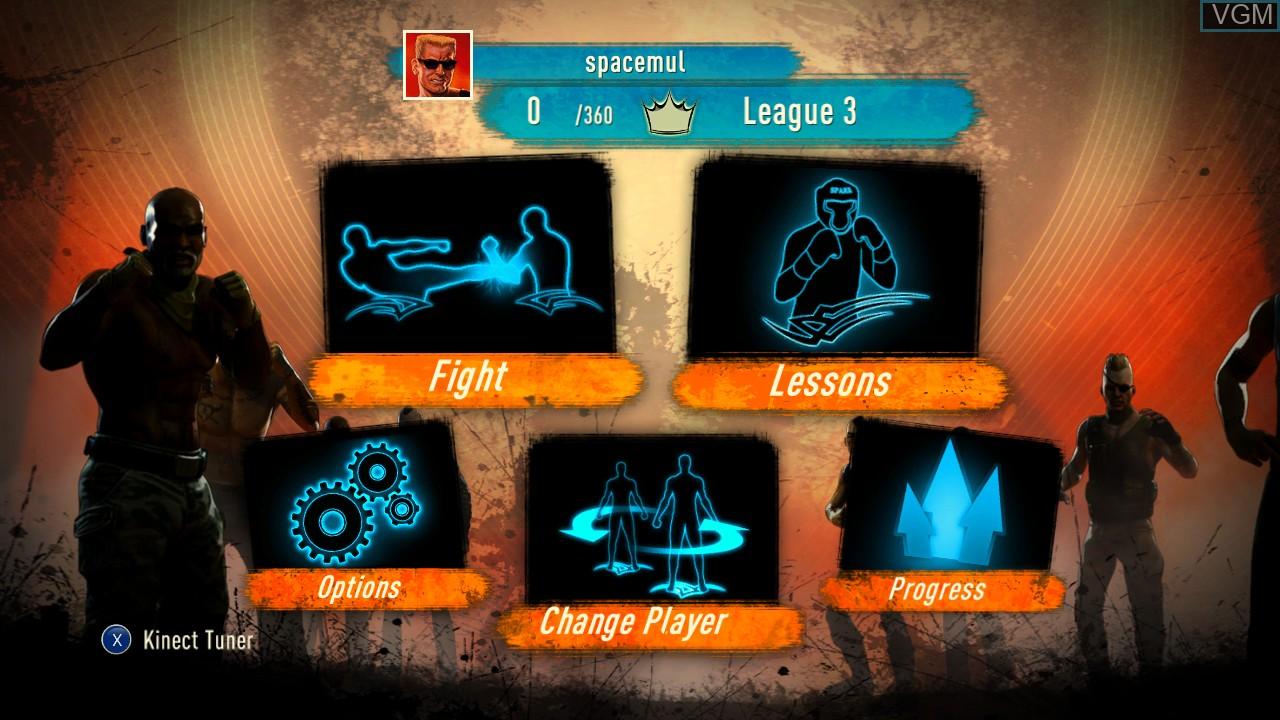 Image du menu du jeu Fighters Uncaged sur Microsoft Xbox 360