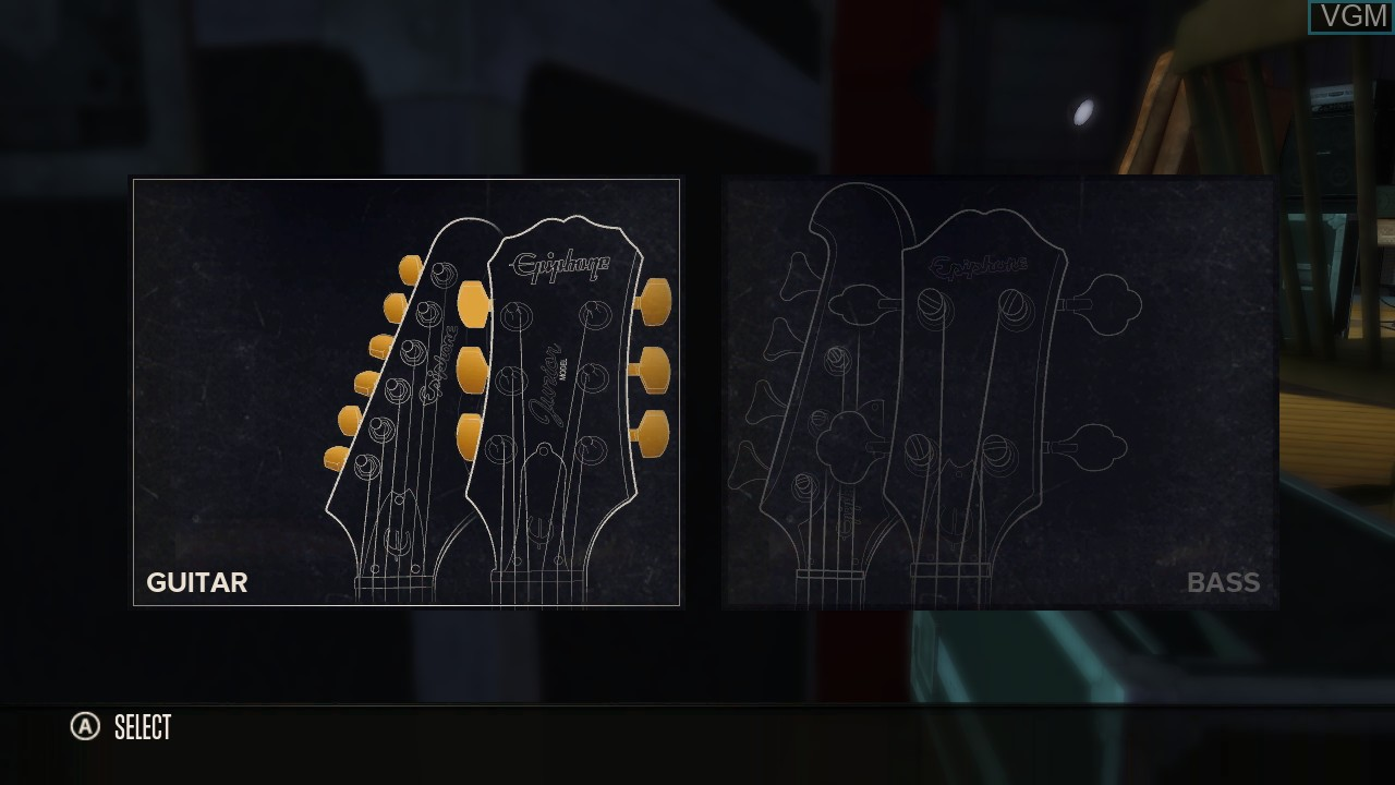 Image du menu du jeu Rocksmith sur Microsoft Xbox 360