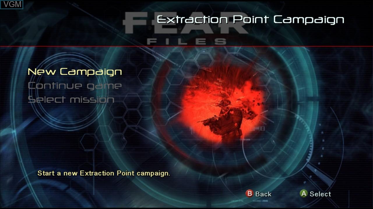 Image du menu du jeu F.E.A.R. Files sur Microsoft Xbox 360