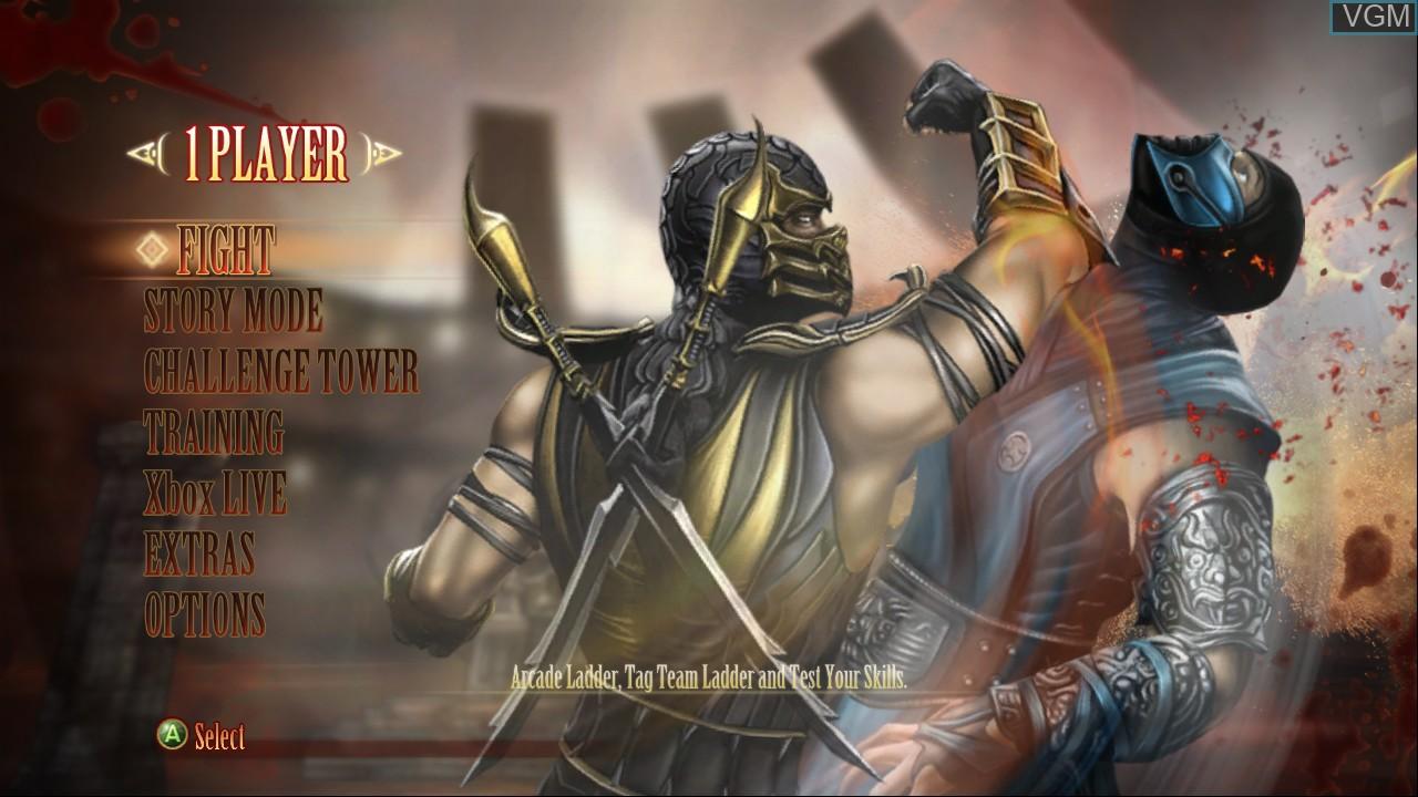 Image du menu du jeu Mortal Kombat Komplete Edition sur Microsoft Xbox 360