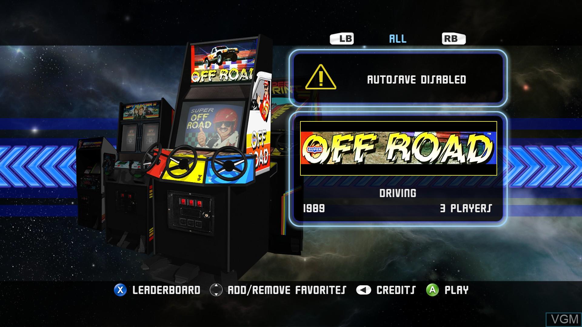 Image du menu du jeu Midway Arcade Origins sur Microsoft Xbox 360