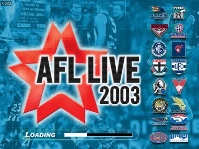 Image de l'ecran titre du jeu AFL Live 2003 sur Microsoft Xbox