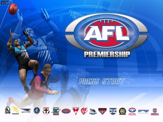 Image de l'ecran titre du jeu AFL Live Premiership Edition sur Microsoft Xbox