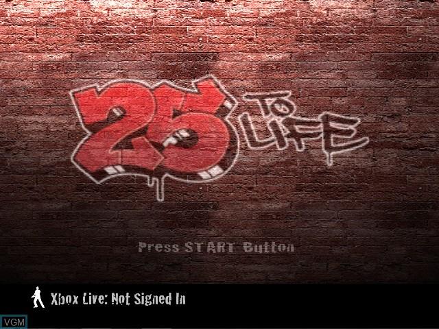 Image de l'ecran titre du jeu 25 to Life sur Microsoft Xbox