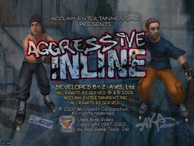 Image de l'ecran titre du jeu Aggressive Inline sur Microsoft Xbox