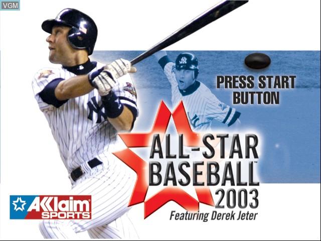 Image de l'ecran titre du jeu All-Star Baseball 2003 sur Microsoft Xbox