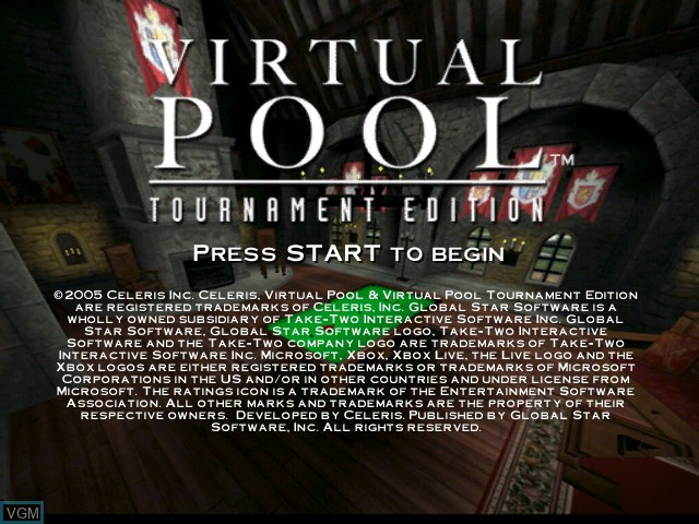 Image de l'ecran titre du jeu Virtual Pool - Tournament Edition sur Microsoft Xbox